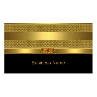 Elegant Business Card Gold Deco Red Jewel Image Business Cards