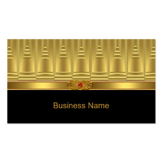 Elegant Business Card Gold Deco Trim Red Jewel Business Card