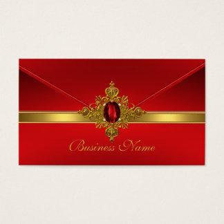 Elegant Business Card Red Gold Trim Red Jewel