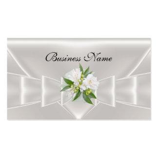 Elegant Business Card White Silk Floral Bow