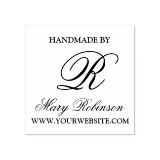 "Elegant Business Monogram ""Handmade By"" Rubber Stamp"