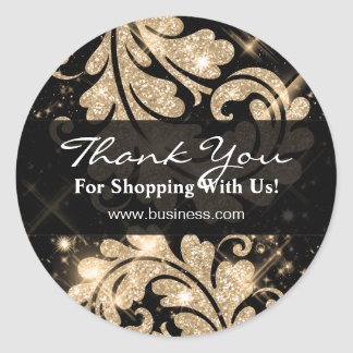 Elegant Business Thank You Gold Glitter Floral Round Sticker