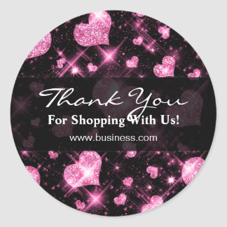 Elegant Business Thank You Pink Glitter Hearts Round Sticker
