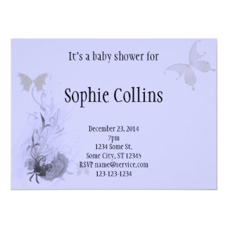 "Elegant Butterflies and Roses 5.5"" X 7.5"" Invitation Card"