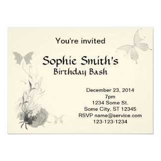 Elegant Butterflies and Roses 14 Cm X 19 Cm Invitation Card