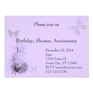 Elegant Butterflies and Roses 5.5x7.5 Paper Invitation Card
