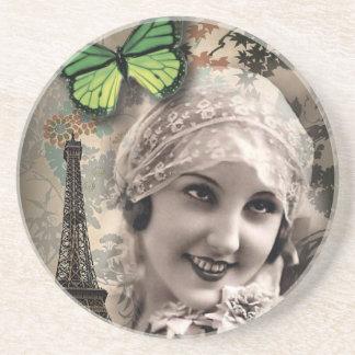elegant butterfly eiffel tower paris girl Vintage Beverage Coaster