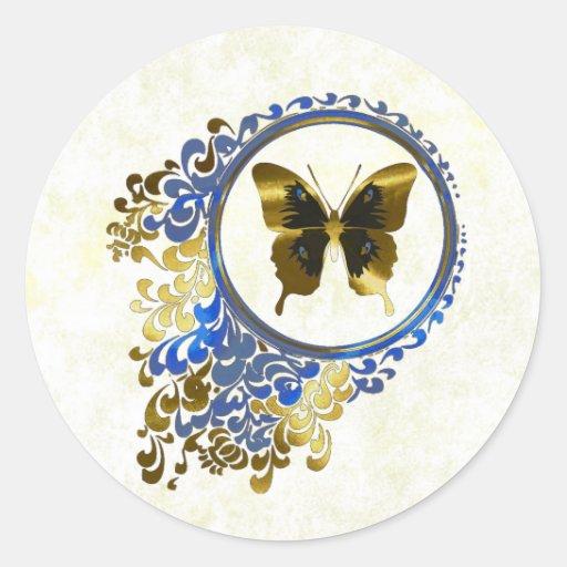 Elegant Butterfly envelope seals Round Stickers