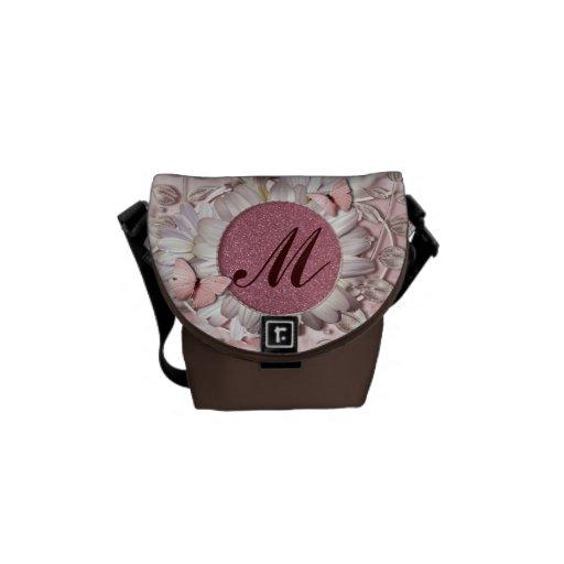 Elegant Butterfly Floral Gem Monogram Courier Bag