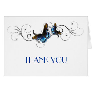 Elegant Butterfly Floral Swirls Thank you Card