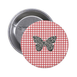 Elegant Butterfly On Red Gingham Button