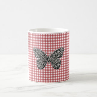 Elegant Butterfly On Red Gingham Mugs