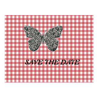 Elegant Butterfly On Red Gingham Postcard