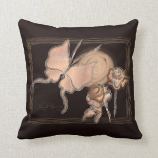 Elegant Butterfly & Roses Copper Dark BG Throw Pillow
