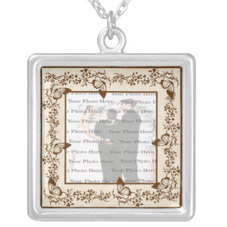 Elegant Butterfly Wedding Square Silver Necklace