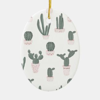 Elegant Cacti in Pots Pattern Ceramic Ornament