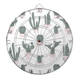 Elegant Cacti in Pots Pattern Dartboard