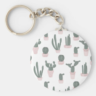 Elegant Cacti in Pots Pattern Key Ring