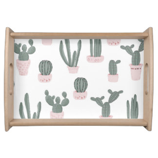 Elegant Cacti in Pots Pattern Serving Tray