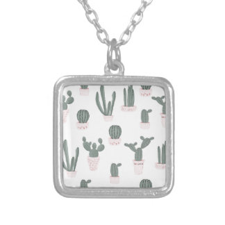 Elegant Cacti in Pots Pattern Silver Plated Necklace