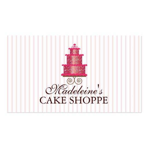 Elegant Cake in Pink Custom Bakery Business Card