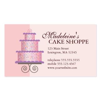 Elegant Cake on Pink Custom Bakery Business Card