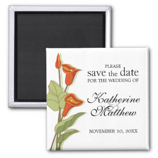 Elegant Calla Lily In Orange Save The Date Magnet