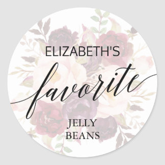 Elegant Calligraphy Faded Floral His Her Favorite Classic Round Sticker