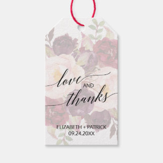 Elegant Calligraphy   Faded Floral Love & Thanks Gift Tags
