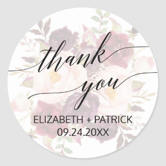 Elegant Calligraphy   Faded Floral Thank You Favor Classic Round Sticker