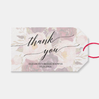 Elegant Calligraphy   Faded Floral Thank You Gift Tags