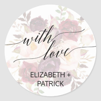 Elegant Calligraphy   Faded Floral Wedding Favor Classic Round Sticker