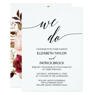 "Elegant Calligraphy | Floral Back ""We Do"" Wedding Card"