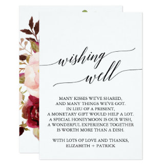 Elegant Calligraphy | Floral Wedding Wishing Well Card
