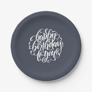 Elegant Calligraphy Happy Birthday Party Paper Plate