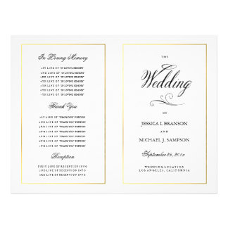 Elegant Calligraphy Wedding Program Gold Border 21.5 Cm X 28 Cm Flyer