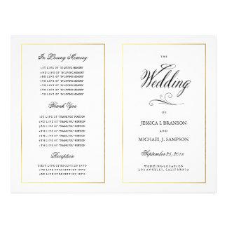 Elegant Calligraphy Wedding Program Gold Border 21.5 Cm X 28 Cm Flyer