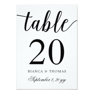 Elegant Calligraphy Wedding Table Number Card