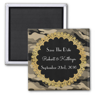 """Elegant Camouflage Wedding """"Save the Date"""" Square Magnet"""