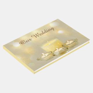 Elegant Candlelight Vanilla Cream Guest Book