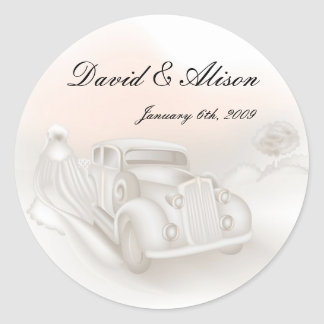 Elegant Car & Gown Wedding Stickers
