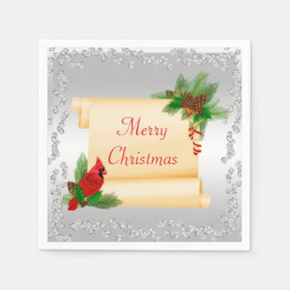 Elegant Cardinal & Scroll Diamonds Christmas Disposable Napkin