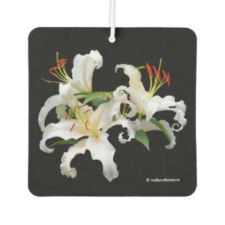 Elegant Casablanca White Oriental Lilies Car Air Freshener
