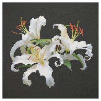 Elegant Casablanca White Oriental Lilies Fabric