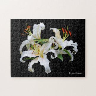 Elegant Casablanca White Oriental Lilies Jigsaw Puzzle