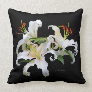 Elegant Casablanca White Oriental Lilies Throw Pillow