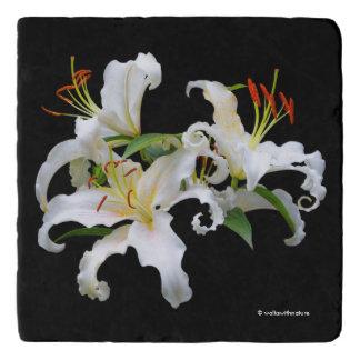 Elegant Casablanca White Oriental Lilies Trivet