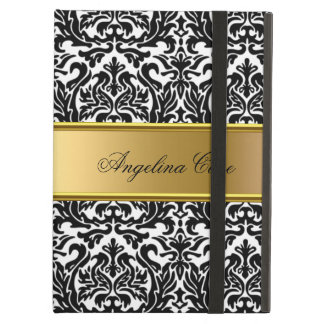 Elegant Case black white Damask Gold add Name