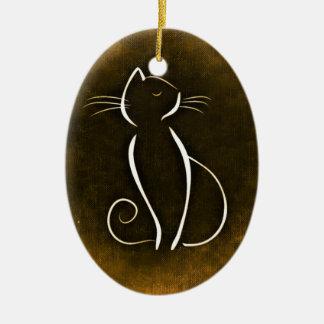 Elegant Cat, Snooty Cat Ceramic Oval Decoration