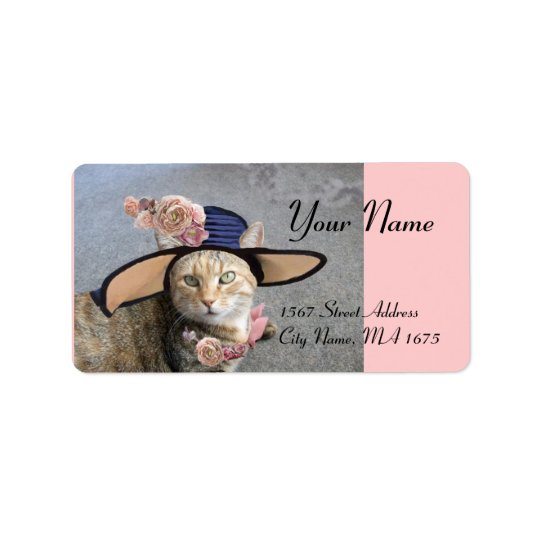 ELEGANT CAT WITH BIG DIVA HAT,PINK ROSES Valentine Label